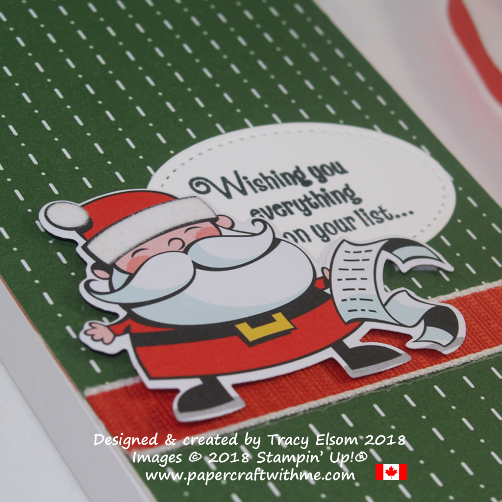 Close up of Santa's To Do List featuring products from the Santa's Workshop Suite from Stampin' Up!