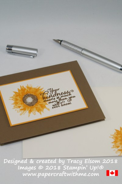 Your kindness card with sunflower image created using the Painted Harvest Stamp Set from Stampin' Up!