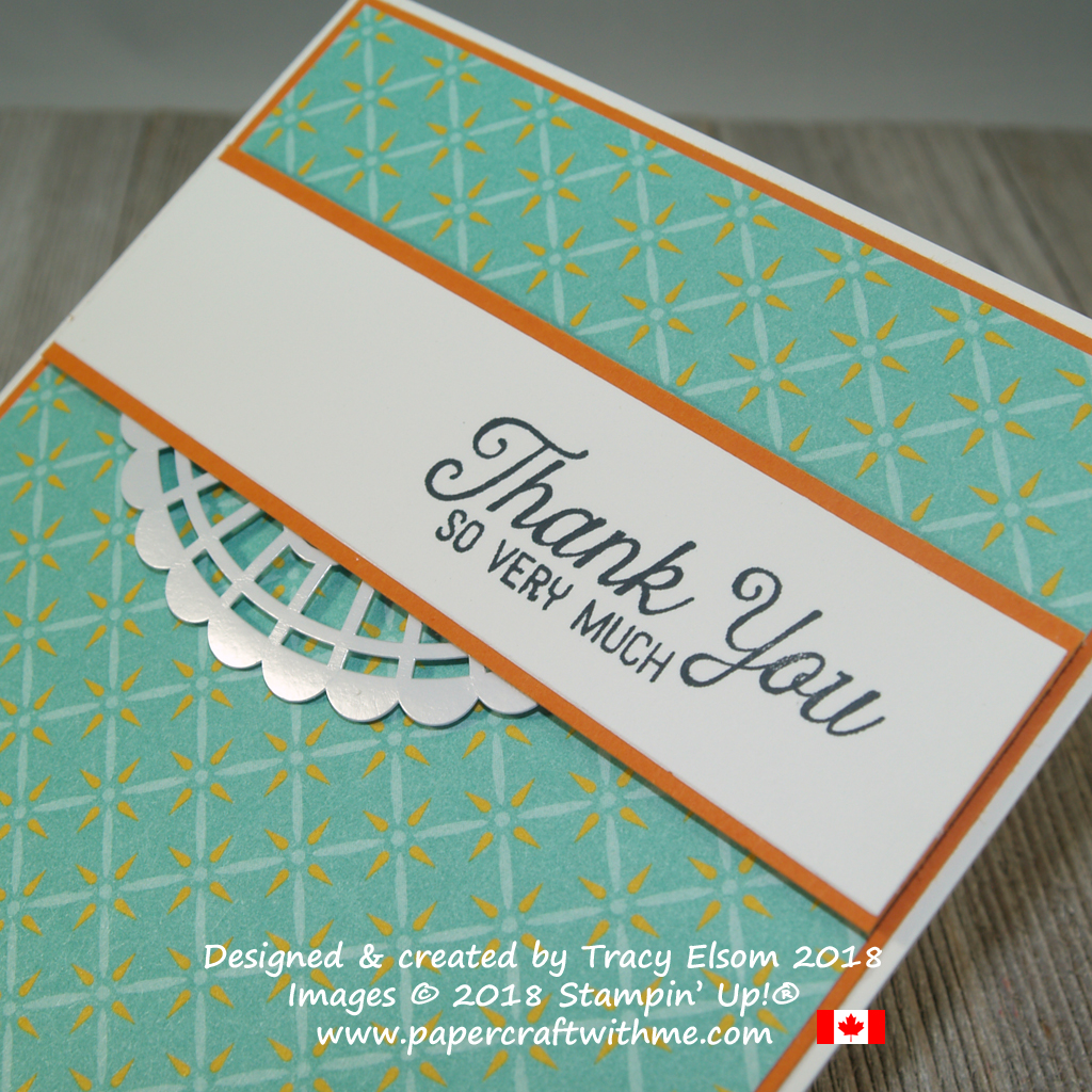 Close up of simple card with thank you so very much sentiment from the Flourishing Phrases Stamp Set and patterned Tea Room Specialty Designer Series Paper from Stampin' Up!