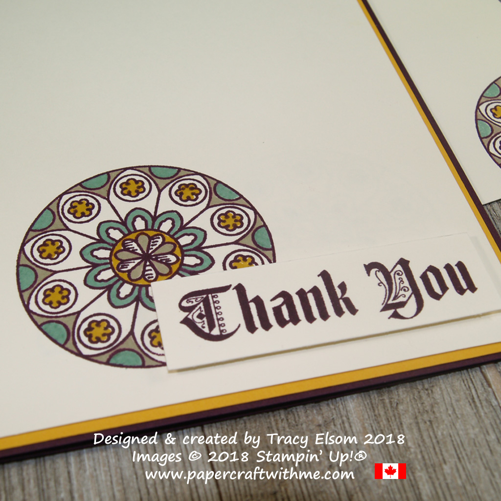 Close up of thank you card with roundel and sentiment from the Painted Glass Stamp Set from Stampin' Up!