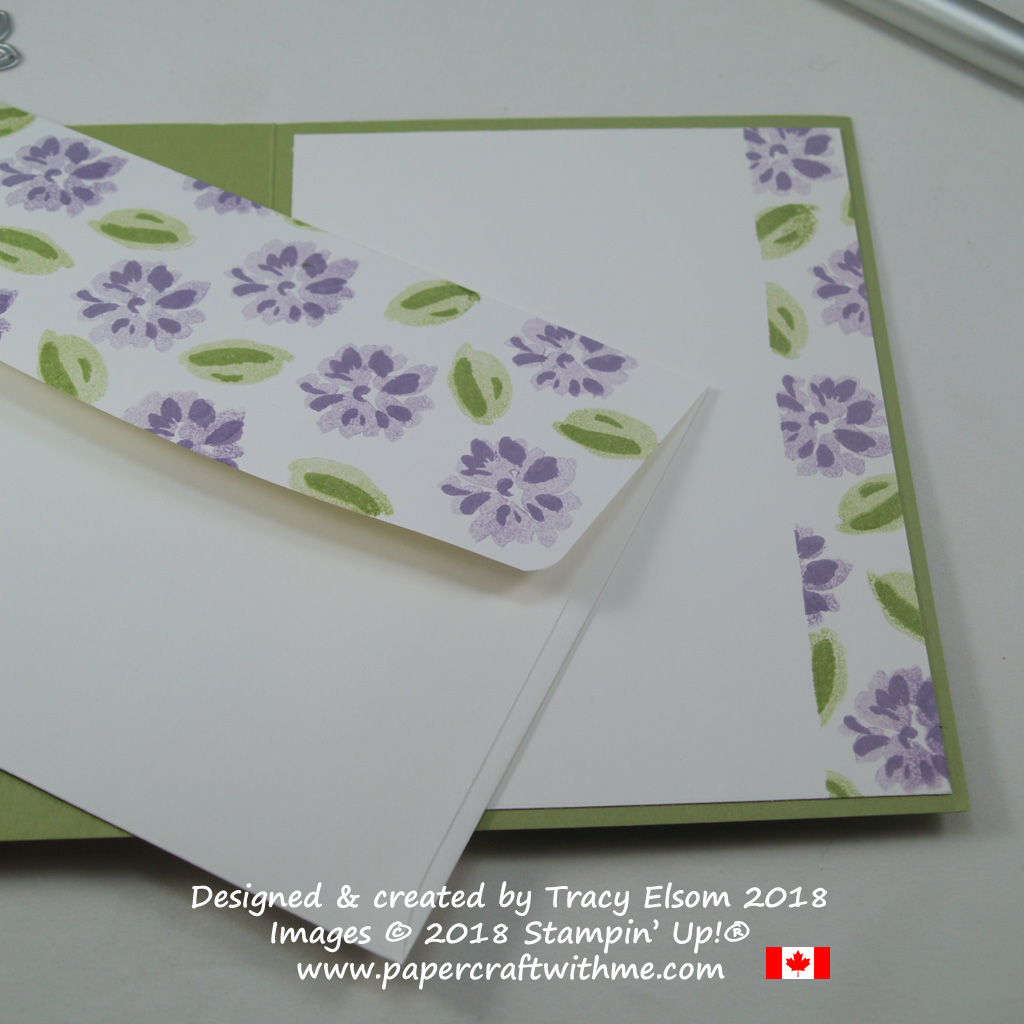 Inside and envelope flap of If Flowers Were Hugs card created using the Abstract Impressions Stamp Set from Stampin' Up!