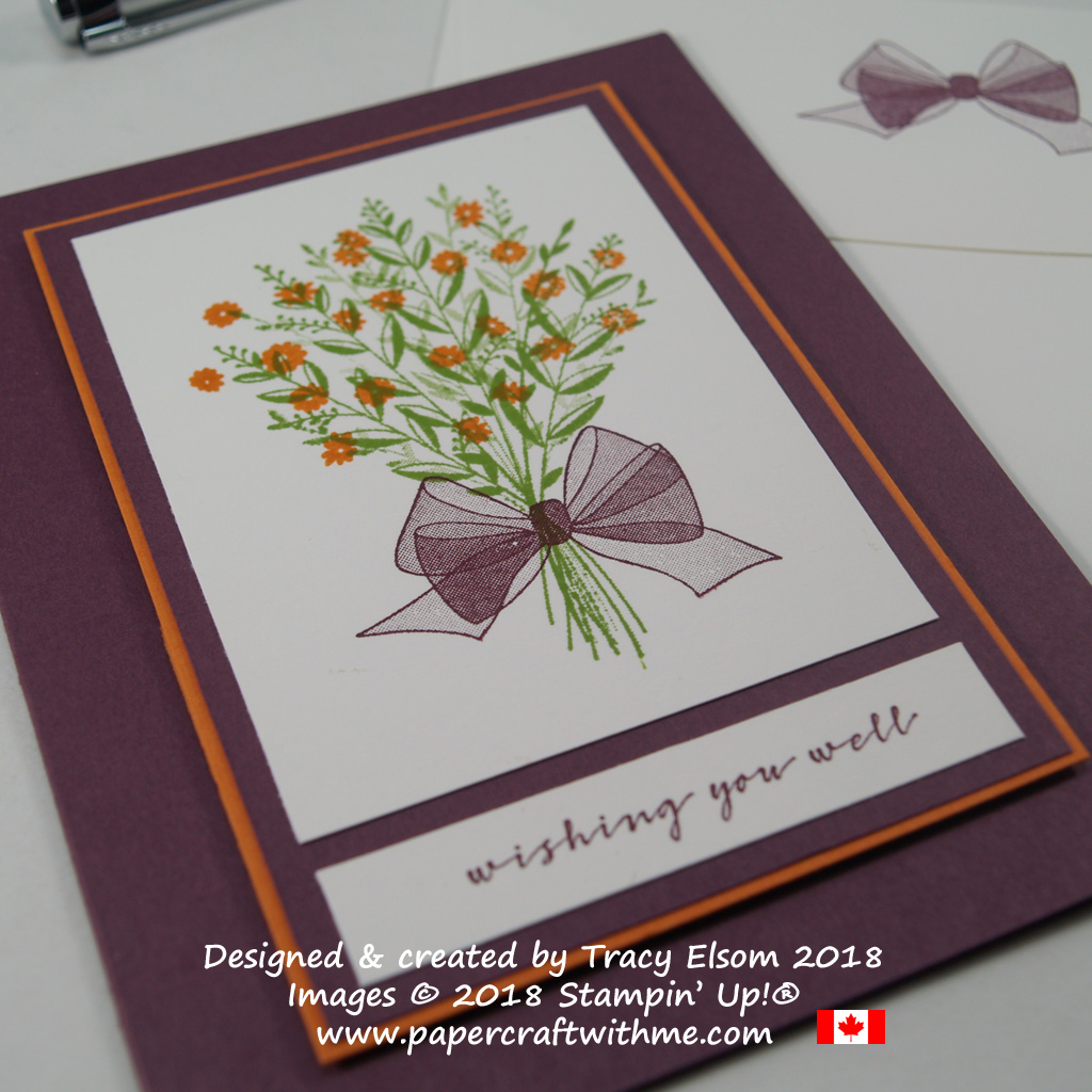 Close up of floral bouquet card with a sheer bow created using the Wishing You Well Stamp Set from Stampin' Up!