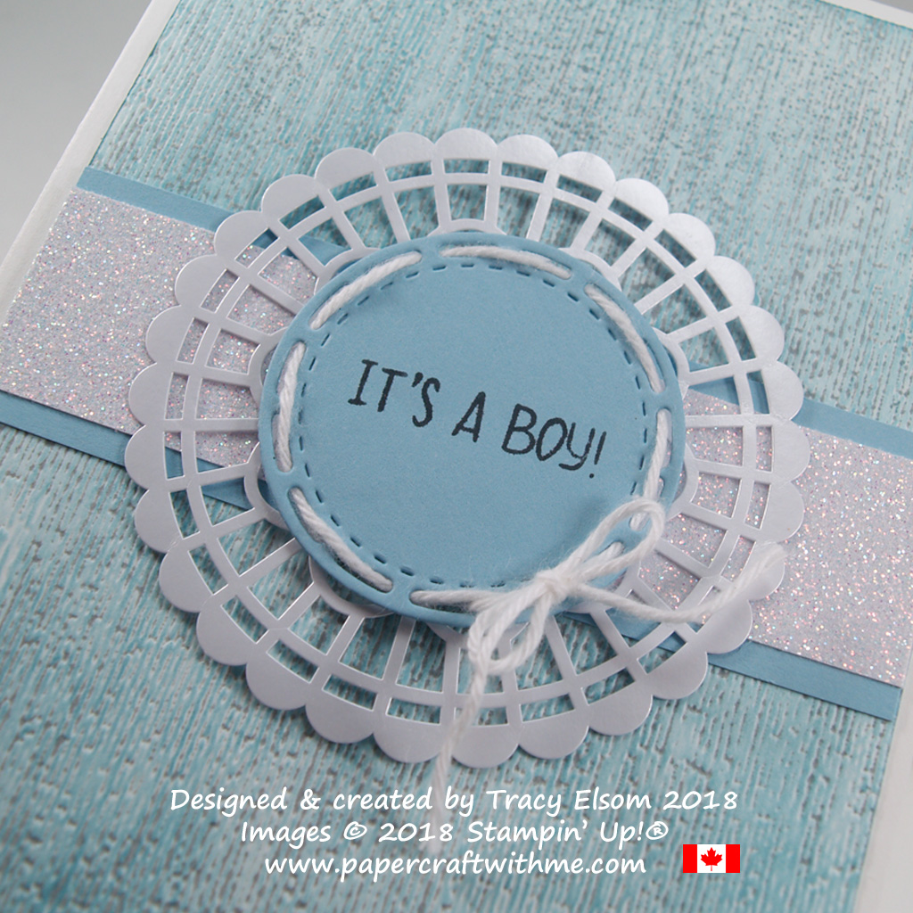 Close up of baby card showing the double-inked embossing technique with the Subtle Dynamic embossing folder from Stampin' Up!