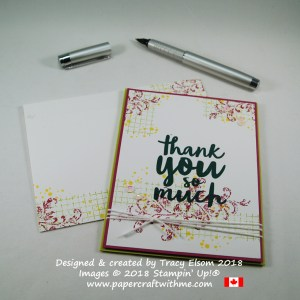 Simple thank you card created using the Timeless Textures and Thankful Thoughts Stamp Sets from Stampin' Up!