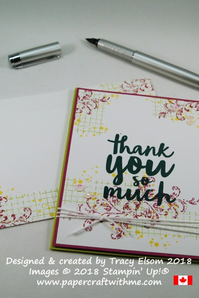Simple collage-style thank you card created using the Timeless Textures and Thankful Thoughts Stamp Sets from Stampin' Up!