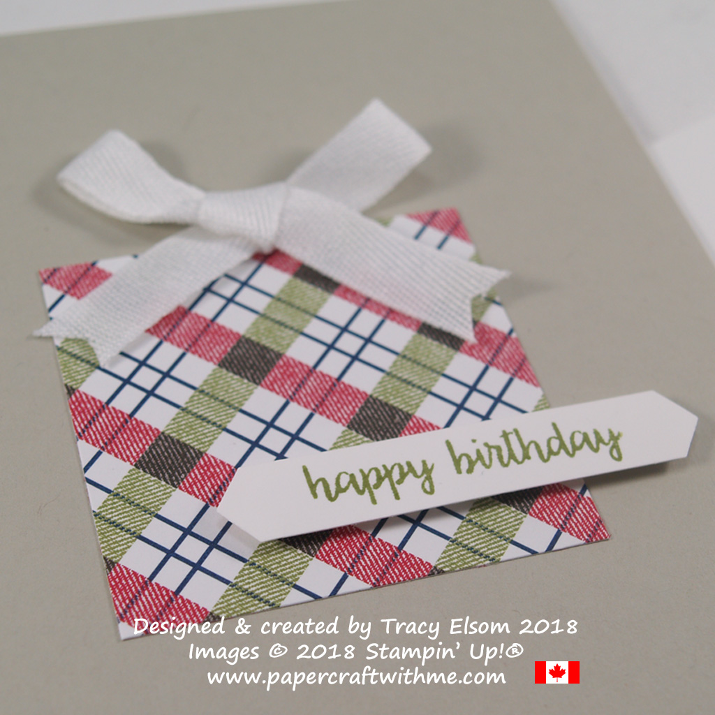 Close up of simple present birthday card created using the Under The Mistletoe Designer Series Paper and Happy Birthday Gorgeous Stamp Set from Stampin' Up!