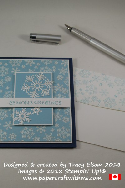 Seasons greetings card with embossed and die cut snowflakes created using the Beautiful Blizzard Stamp Set and coordinating Blizzard Thinlits Die from Stampin' Up!