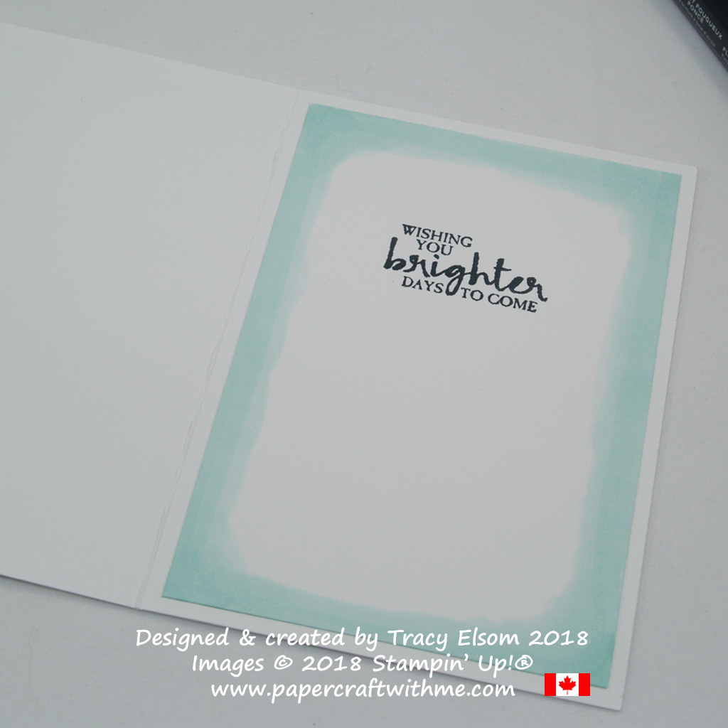 Inside of simple notecard with brighter days sentiment from the Beautiful You Stamp Set from Stampin' Up!
