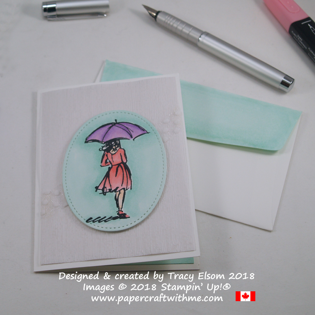 Simple rainy day notecard featuring the umbrella girl image from the Beautiful You Stamp Set and coloured using Stampin' Blends markers from Stampin' Up!