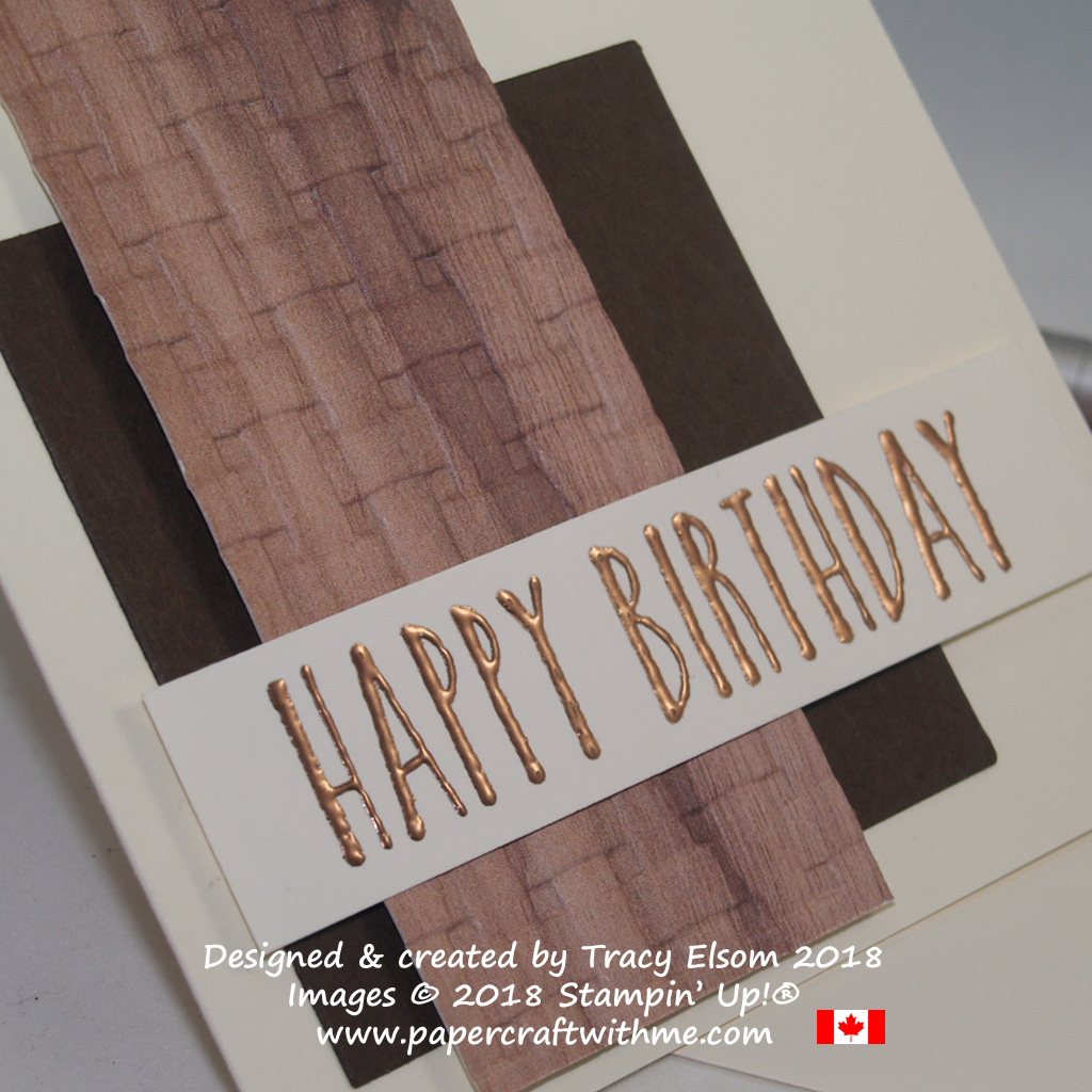 Close up of masculine birthday card using Wood Textures DSP, Basket Weave Dynamic Textured Impressions Embossing Folder and Perennial Birthday Stamp Set from Stampin' Up!