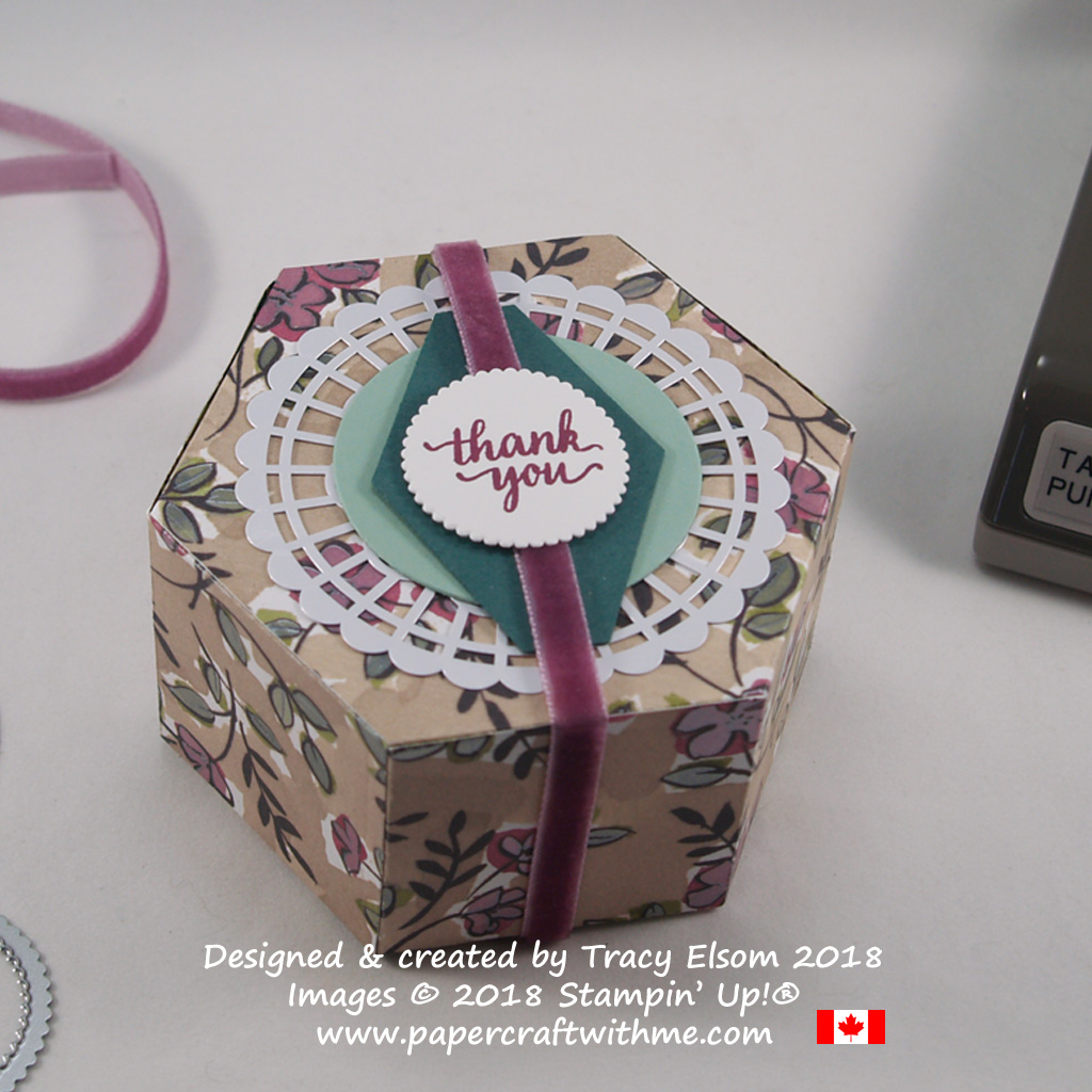 Hexagonal box created using the Window Box Thinlits with sentiment from the Eastern Beauty Stamp Set from Stampin' Up!