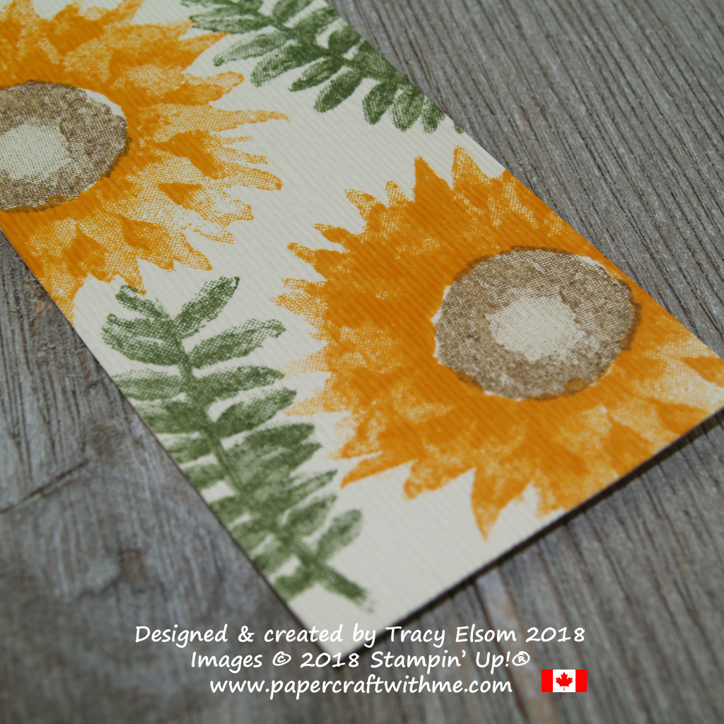 Close up of textured sunflower bookmark created using the Painted Harvest Stamp Set and Subtle Dynamic Textured Impressions Embossing Folder from Stampin' Up!