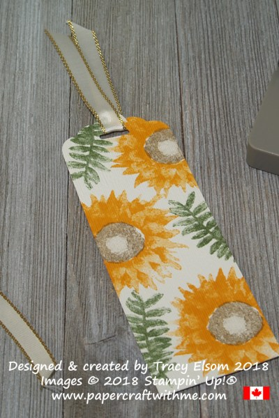 Textured sunflower bookmark created using the Painted Harvest Stamp Set and Subtle Dynamic Textured Impressions Embossing Folder from Stampin' Up!