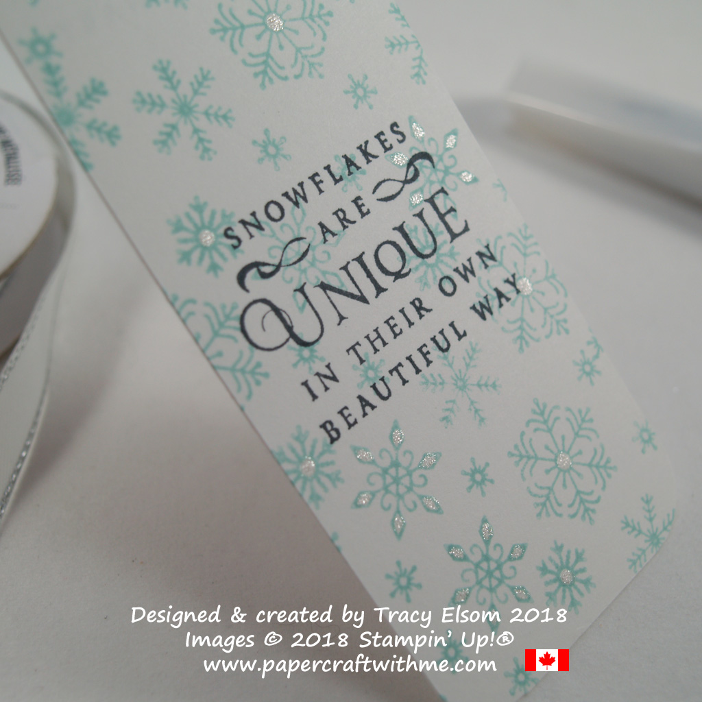 Close up of simple snowflakes bookmark created using the Beautiful Blizzard Stamp Set from Stampin' Up!