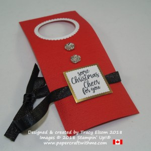 Santa's apron bottle tag with Christmas cheer sentiment from the Take Out Treats Stamp Set from Stampin' Up!