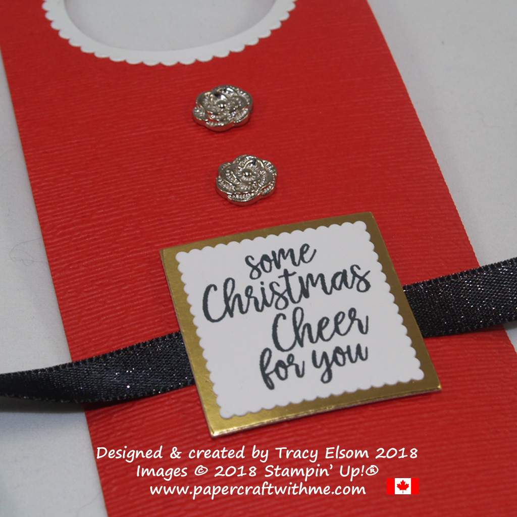 Close up of Santa's apron bottle tag created using the Take Out Treats Stamp Set from Stampin' Up!