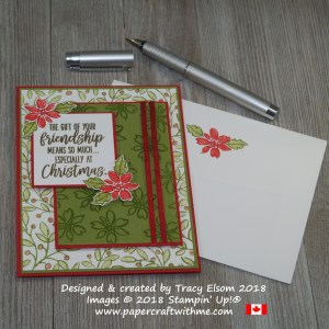 Christmas friendship card with background stamping using the Feathers & Frost Stamp Set from Stampin' Up!