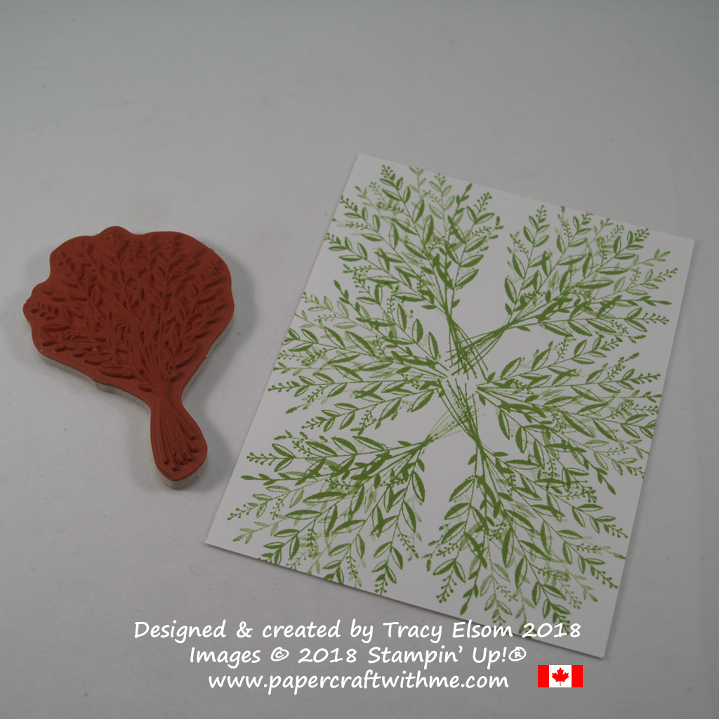 Foliage background created using the bouquet image from the Wishing You Well Stamp Set from Stampin' Up!
