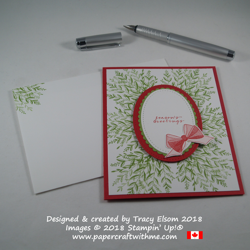 Seasons greetings card with large wreath background created using images from the Wishing You Well Stamp Set from Stampin' Up!
