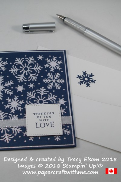 Striking navy and white 'thinking of you' card with die-cut snowflake background created using the Blizzard Thinlits Die from Stampin' Up!