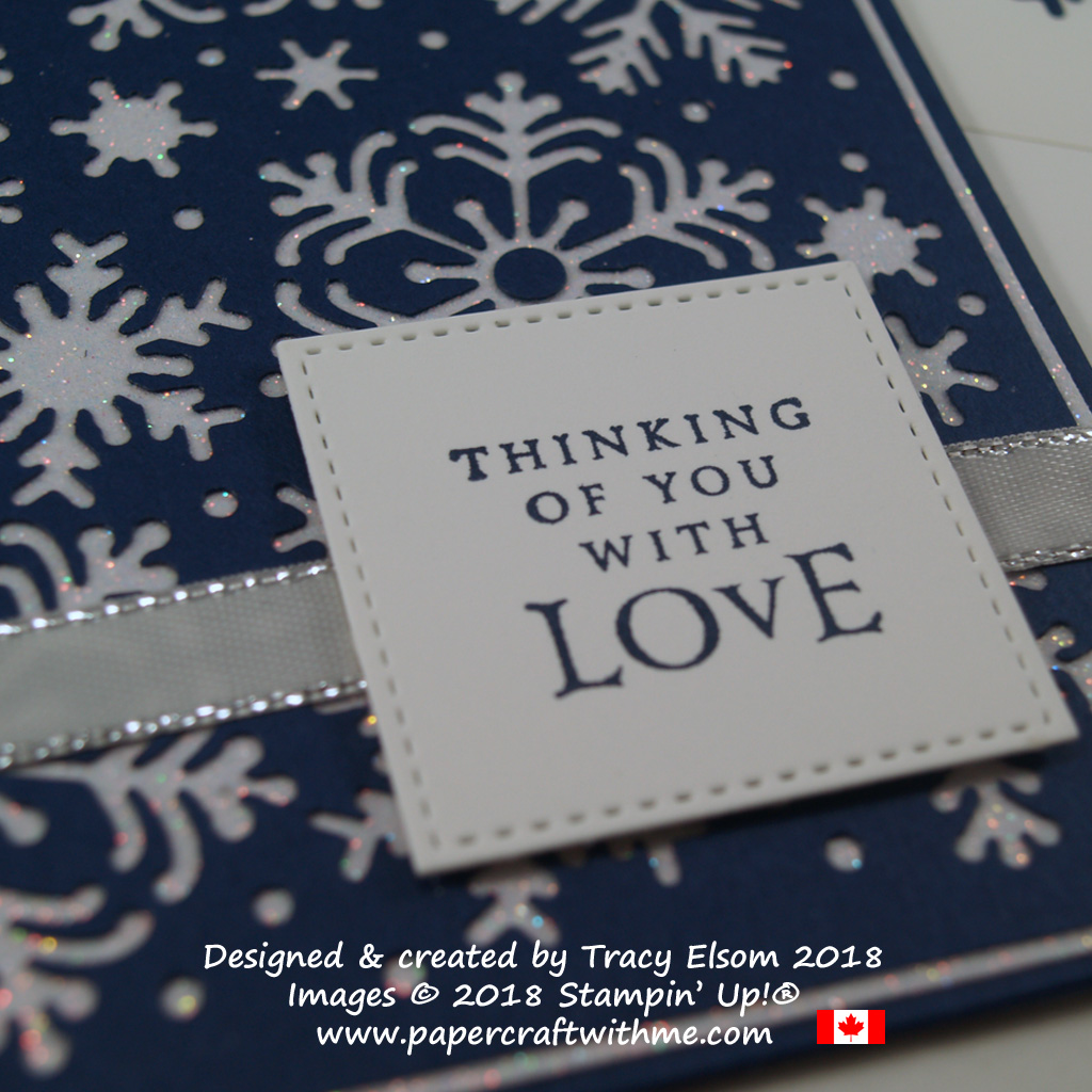 'Thinking of you with love' sentiment from the Beautiful Blizzard Stamp Set from Stampin' Up!