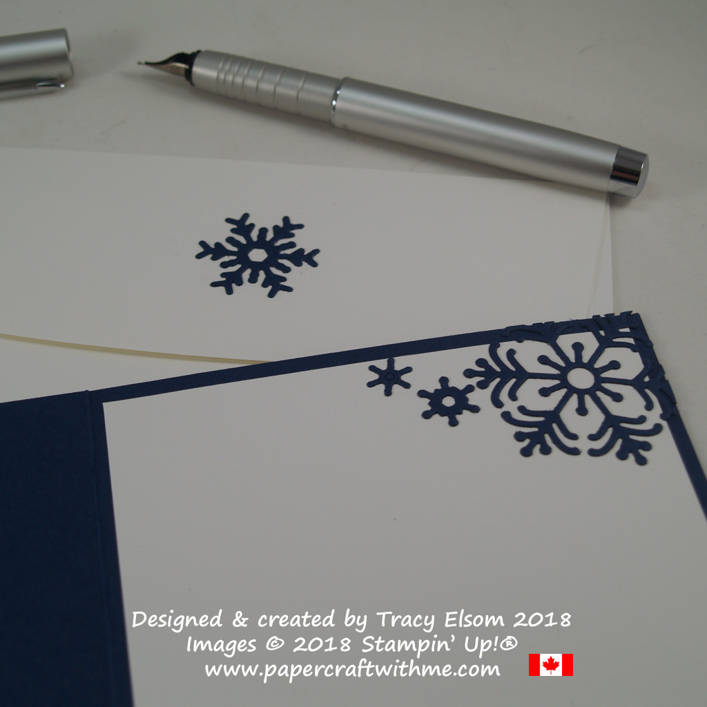 Die-cut snowflakes inside card and on envelope created using the Blizzard Thinlits Die from Stampin' Up!