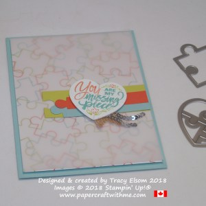 Puzzle heart card created using the Love You To Pieces Stamp Set and coordinating Puzzle Pieces Thinlits Dies from Stampin' Up!