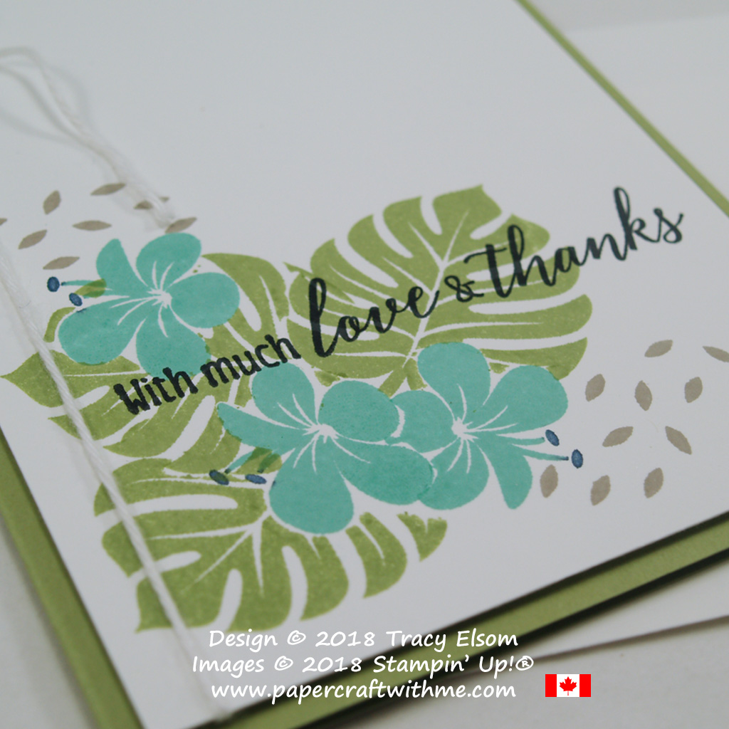 Close up of love and thanks card created on World Card Making Day 2018 using masked images from the Tropical Chic Stamp Set from Stampin' Up!