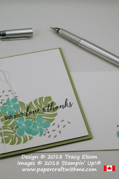 Love & thanks card created on World Card Making Day 2018 using masked images from the Tropical Chic Stamp Set from Stampin' Up!