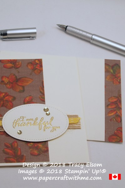 Thankful for you card created using the Painted Harvest Stamp Set and hand coloured Designer Series Paper from the Natures Poem DSP pack from Stampin' Up!
