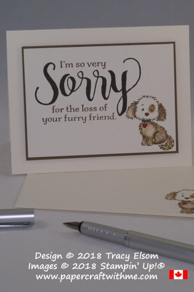 Pet sympathy card created using the Sorry for Everything Stamp Set with a dog image from the Bella & Friends Stamp Set (both from Stampin' Up!)