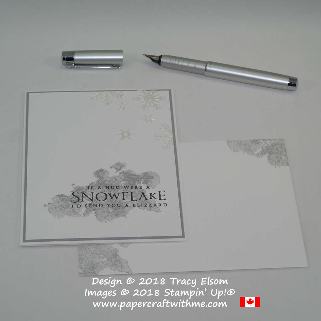 Simple card with 'If a hug were a snowflake I'd send you a blizzard' sentiment from the Beautiful Blizzard Stamp Set from Stampin' Up!
