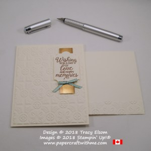 Card embossed with Tin Tile Embossing Folder and beautiful sentiment 'love and happy memories' from the Beautiful Bouquet Stamp Set from Stampin' Up!