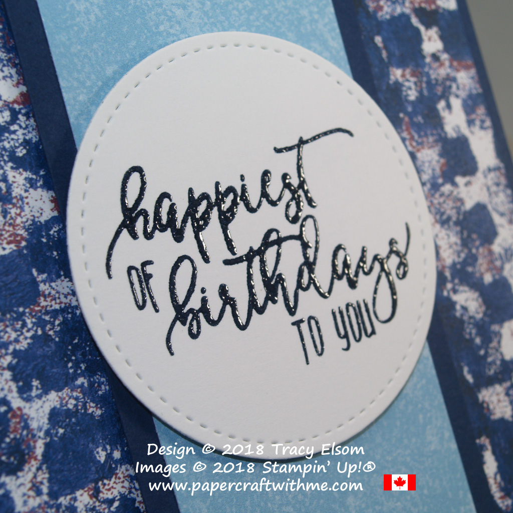 Night of Navy embossed 'happiest of birthdays to you' sentiment from the Picture Perfect Birthday Stamp Set by Stampin' Up!