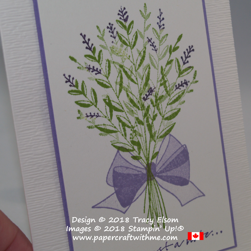 Close up of lavender bouquet image created using the Wishing You Well Stamp Set with background embossed using the Subtle Dynamic Textured Impressions Embossing Folder from Stampin' Up!