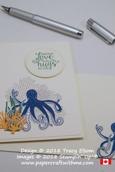 Masculine card with octopus and other images from the Sea of Textures Stamp Set and coordinating Under the Sea Framelits Dies. The 'sending love and hugs to you' sentiment comes from the Ribbon of Courage Stamp Set.