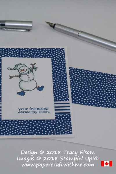 On this friendship card there's a heartwarming snowman from the Spirited Snowmen Stamp Set from Stampin' Up!