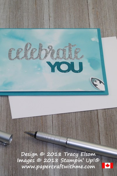 Celebrate you card with an inked background and a cute penguin from the Making Every Day Bright Stamp Set photobombing the scene.