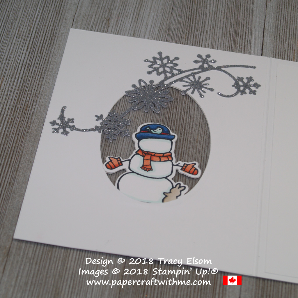 Back view of snowman image on see-through card created using Seasonal Chums Stamp Set and Snowfall Thinlits Dies from Stampin' Up!
