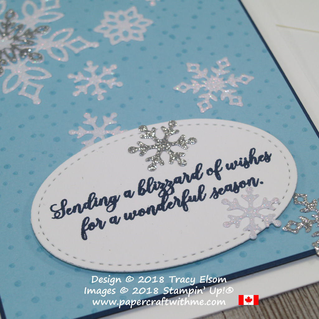 Close up of blue Christmas card with blizzard of wishes sentiment from the Snow is Glistening Stamp Set from Stampin' Up!