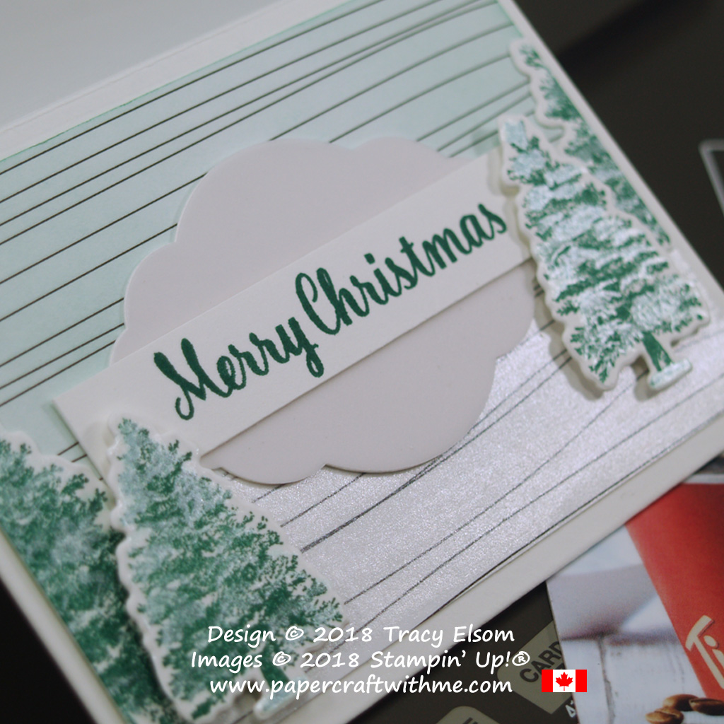 Close up of gift card envelope with shimmery Christmas trees from the Rooted in Nature Stamp Set from Stampin' Up!
