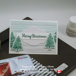 Gift card envelope with shimmery Christmas trees from the Rooted in Nature Stamp Set from Stampin' Up!