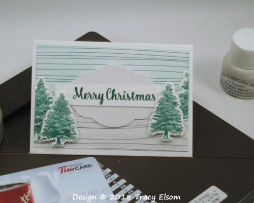 GC182 Shimmery Christmas Trees Gift Card Envelope