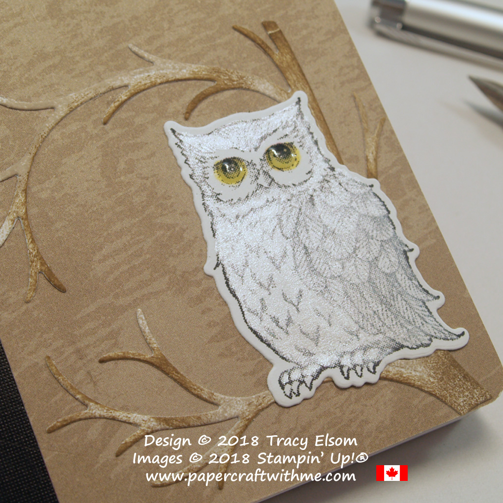 Close up of mini notebook decorated with the owl from the Still Night Stamp Set & coordinating Night Owl Thinlits Dies from Stampin' Up!