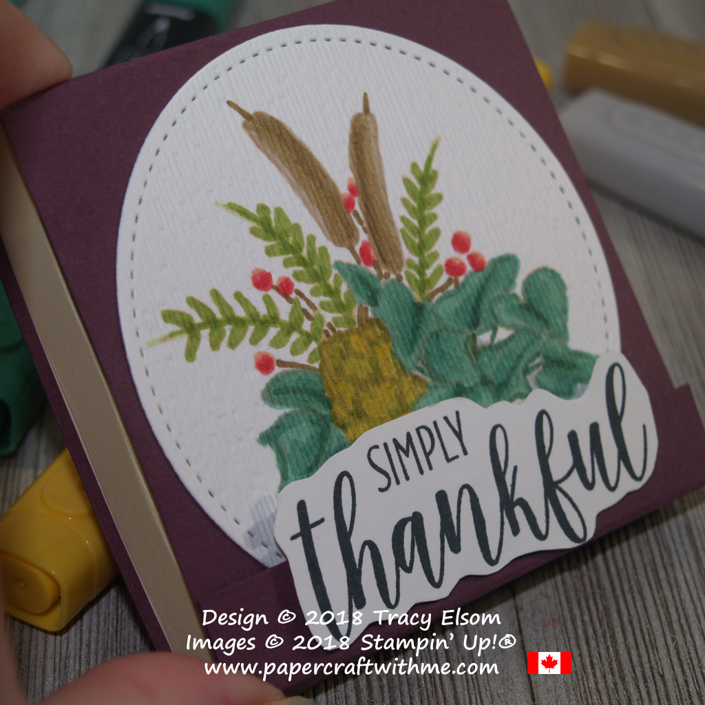 "Close up of 3"" x 3"" Post-It Note Pad decorated with simply thankful (altered) sentiment and floral image from the Country Home Stamp Set from Stampin' Up!"