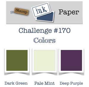 Stamp Ink Paper Challenge SIP170 Colors - dark green, pale mint & deep purple (October 2-7, 2018)