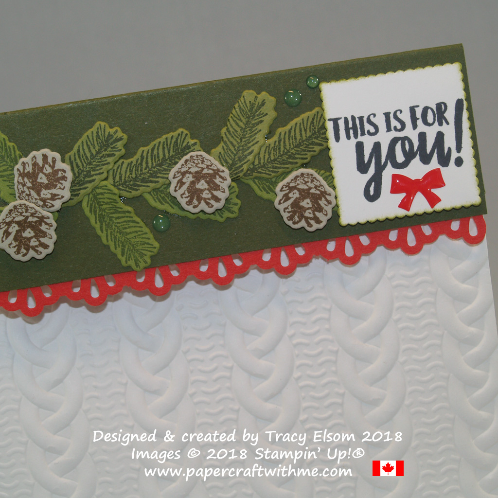 Close up of paper treat bag embellished using Cable Knit Dynamic embossing folder, Winter Woods Stamp Set and coordinating In The Woods Framelits Dies, with a sentiment from the Takeout Treats Stamp Set, all from Stampin' Up!