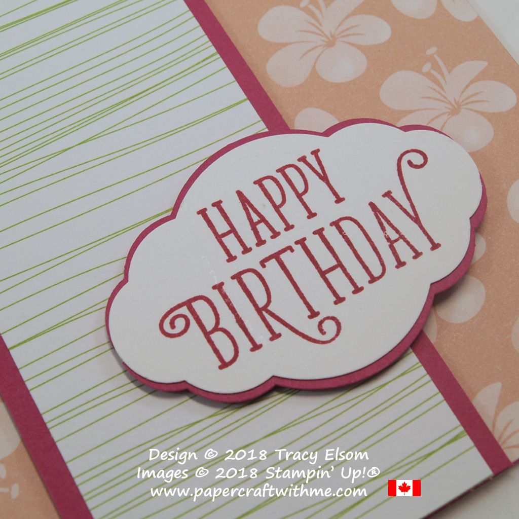 Close up of birthday card with pink flowers from the Tropical Escape DSP and sentiment from the Happy Birthday Gorgeous Stamp Set from Stampin' Up!