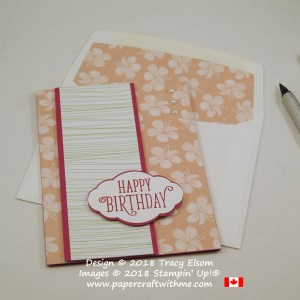 Birthday card with pink flowers from the Tropical Escape DSP and sentiment from the Happy Birthday Gorgeous Stamp Set from Stampin' Up!