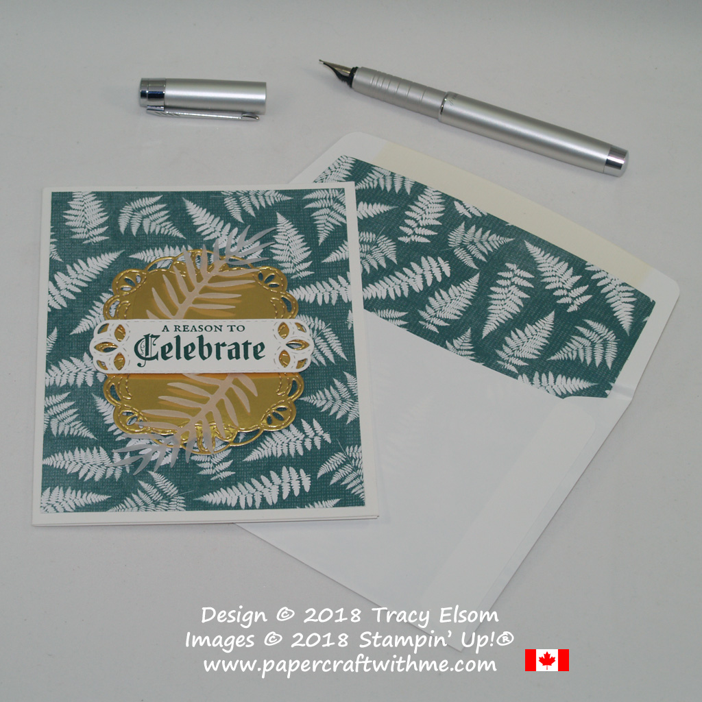 Celebrate card created using a fern design from the Nature's Poen Designer Series Paper, Gold Foil Sheet and Vellum Cardstock from Stampin' Up!